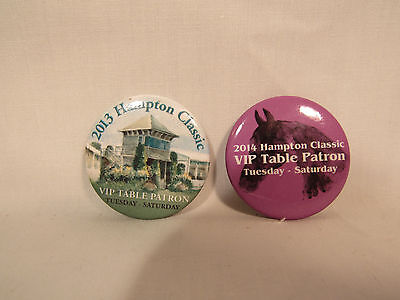 Pair of Hampton Classic Horse Competition Show VIP Table Patron Pins 2013 & 2014
