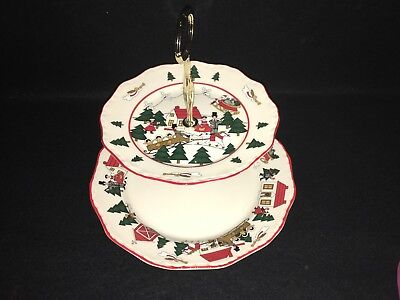 Masons CHRISTMAS VILLAGE Two Tiered Cake Sandwich Serving Tray Plate England