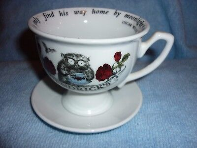 Hendrick's Gin Bush Baby Cup & Saucer With Oscar Wilde Quote Mint
