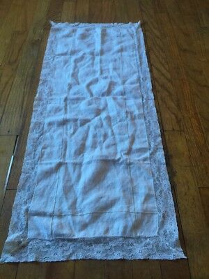 Antique Victorian White Lace Runner Old Excellent