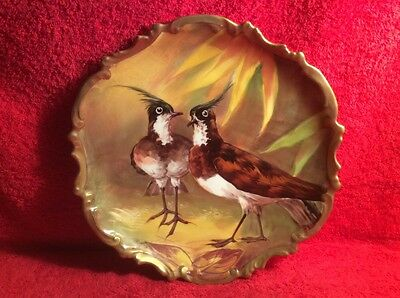 Antique Hand Painted French Limoges Artist Signed Game Birds Wall Platter, L342
