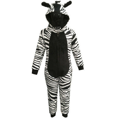 Kids Girls Boys Thick Fleece Animal Zebra All In Ones Fun Fancy Hooded Jumpsuit