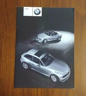 BMW 2001 Z3 E36 ROADSTER COUPE 3.0i BROCHURE CONVERTIBLE COLLECTIBLE ADVERTISING
