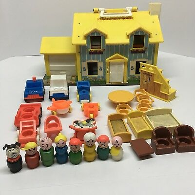 Vtg Fisher Price Little People House Yellow 952 Baby Nursery Lot Extras Complete