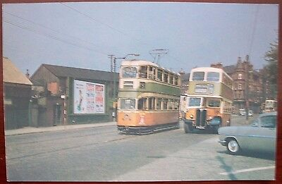 Glasgow Tram / Bus colour postcard Pollokshaws Road / Haggs Road 1957