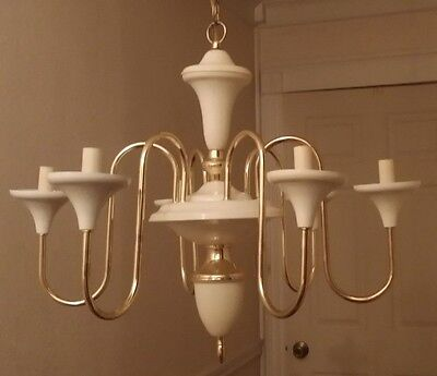 """VIN 6 Arm Light Chandelier Candle Lights White Metal and Brass 24"""" W Gently Used"""