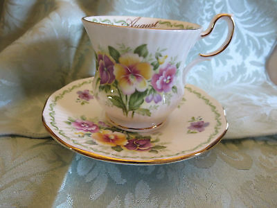 Rosina Queens Fine Bone China Cup & Saucer Special Flowers Pansy August