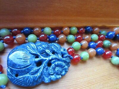 Antique Chinese Lapis FRUIT&FLOWER Hand Carved Pendant Multi Jade Beads Necklace