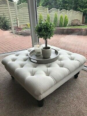 Square Chesterfield Buttoned Large Footstool Coffee Table Ottoman Linen  Fabric