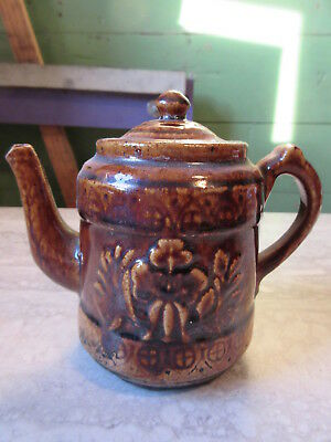 Antique Pottery Floral Embossed Brown Glaze Miniature Teapot