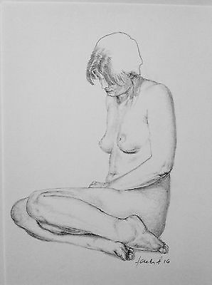 Female Nude Sitting Position Pencil Drawing Realistic Modern Relaxed Original