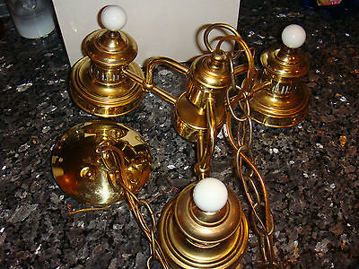vintage brass electric chandelier light - Three light two wire E9914250