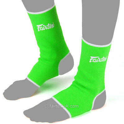 Fairtex Ankle Supports Anklets AS1 Green White Muay Thai Boxing MMA Kickboxing