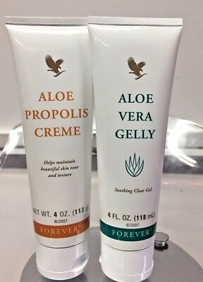 New Forever Living Aloe Vera Gelly & Aloe Propolis Creme Set Of 2 For Skin