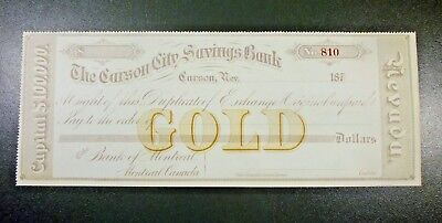 1870's Carson City Savings Bank Check Gold Certificate CU