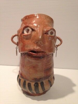 """Ugly Face Folk Art  Pottery  SIGNED Clay Ceramic with earrings!! 6 3/4"""" BROWN"""