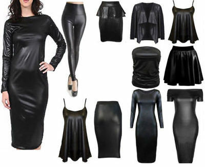 New Wetlook Sexy Long Sleeve Pvc Leather Dress Ladies Bodycon Tunic Topsize 8-26