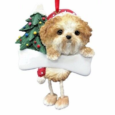 E&S Pets Dangling Legs Christmas Ornament NEW Dog SHIH TZU TAN Puppy Holiday
