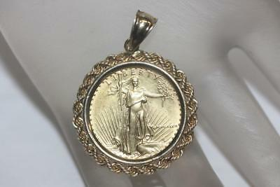 Standing Lady Liberty 10 Dollar 1/4 OZ .999 Fine Gold Coin Bullion Charm Pendant