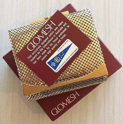 Rare vintage gold Glomesh wallet in box - never used