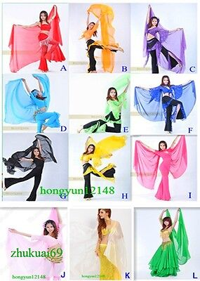 220cm*120cm Soft Silk Chiffon Veil Gold Trim Belly Dance Shawl Scarf 12 Colors