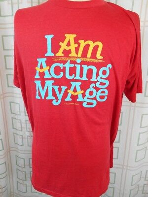 Vintage 1980s Thin Red Poly/Cotton USA Made Acting My Age Fun Novelty T-shirt XL