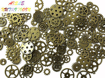 PEPPERLONELY Brand 20PC Mixed Antiqued Bronze Metal Alloy Steampunk Gear...