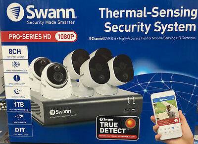 Swann Security System Full HD 6 Camera Thermal Sensing CCTV surveillance NEW