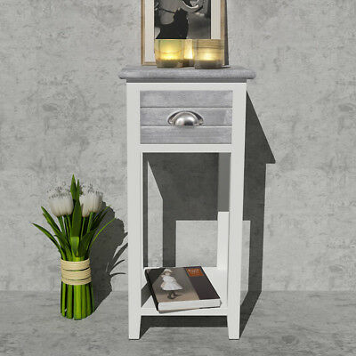 Grey Small Telephone Table Side Hall Plant Lamp Stand Wood Bedside Cabinet Chic