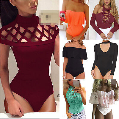 Women Casual Slim Bodysuit Ladies Party Tops Blouses Overall Playsuit Jumpsuit
