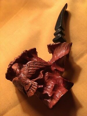 Very Nice Vtg Hand Carved Estate Tobacco Pipe W/ Figraul Bird
