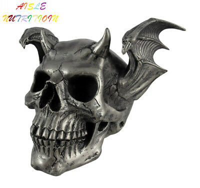 PTC Pacific Giftware Skeleton Skull with Devil Style Wing Horns Statue Figurine