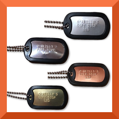 PERSONALISED Dog Tags Single | ARMY Military | STAINLESS STEEL, BRASS or COPPER