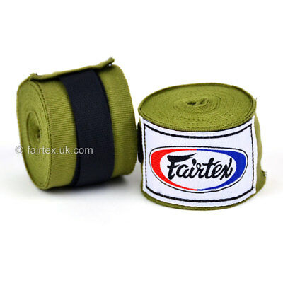 Fairtex Hand Wraps 4.5M Olive Green HW2 Stretch Boxing Muay Thai Kickboxing