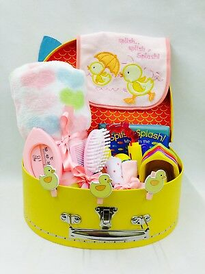 Baby Girl Bath Time Fun Selection Bird Detail Suitcase Hamper Large Cardboard