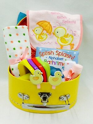Baby Girl Bath Time Fun Selection Bird Detail Suitcase Hamper Small Cardboard
