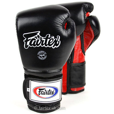 Fairtex Boxing Gloves BGV9 Mexican Style Black Red Muay Thai Sparring Kickboxing