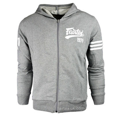 Fairtex Hoodie Grey Zip Up Sport Hoody FHS18 Thai Boxing Kickboxing Casual MMA