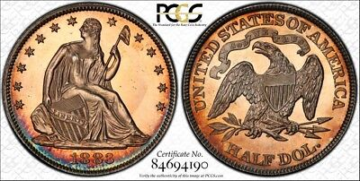 1883 50C Liberty Seated Half Dollar PCGS PR 63 - BEAUTIFUL TONING!!