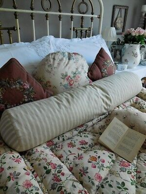 Large vintage French ticking bolster cushion, ticking cushion, feather pillow, f