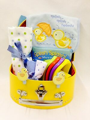 Baby Boy Bath Time Fun Selection Bird Detail Suitcase Hamper Small Cardboard