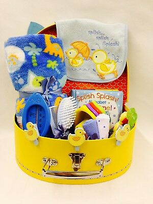 Baby Boy Bath Time Fun Selection Bird Detail Suitcase Hamper Large Cardboard