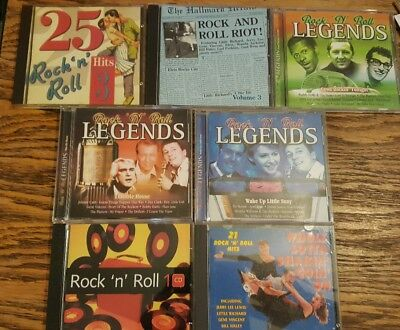 Joblot of 7 cds featuring rock n roll greatest hits