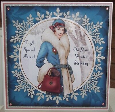 handmade art deco personalised special friend birthday card winter lady in blue