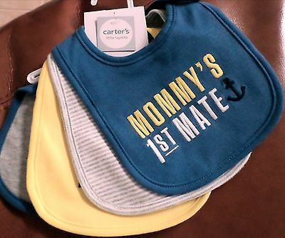 Carter's Baby Boys Teething Bibs Set of 4 'Mommy's 1st Mate' Cotton One Size