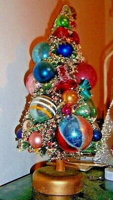 "Vtg Xmas bottle brush tree Big 12"" loaded mercury glass ornaments elegant !"