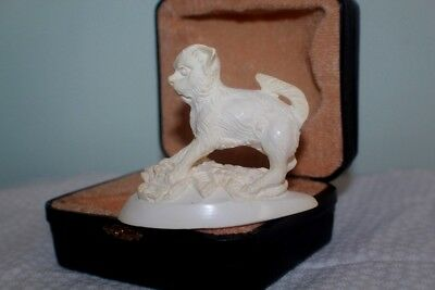 Antique Meerschaum Carved Cat with Black Leather fitted case RARE RARE