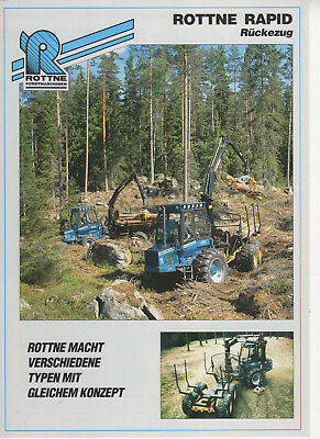 Rottne Rapid Forst Traktor Prospekt 1992 Log Skidder Forwarder Brochure