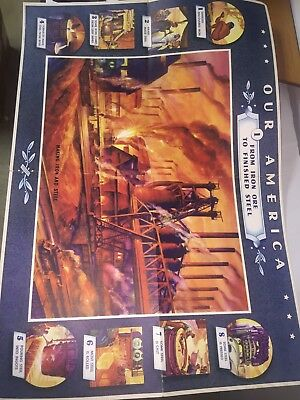 Vintage 1942 Coca Cola Our America Poster Making Iron And Steel Nos