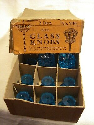 Antique Depression Glass Cabinet Door Knobs Turquoise - NOS! Sold Individually